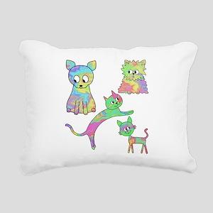 Four Colorful Cats. Rectangular Canvas Pillow