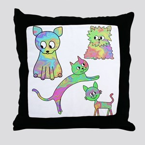 Four Colorful Cats. Throw Pillow