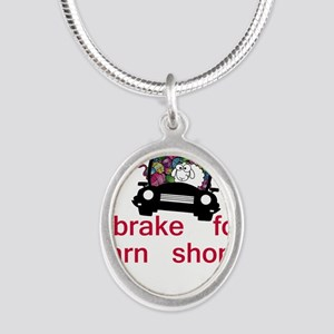 Brake for yarn shops Silver Oval Necklace