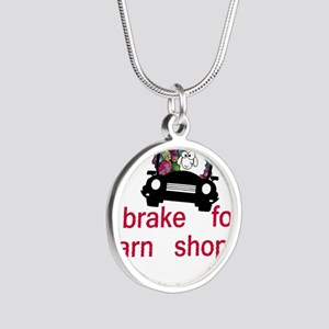 Brake for yarn shops Silver Round Necklace