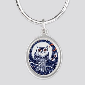 Blue Owl with Moon Silver Oval Necklace