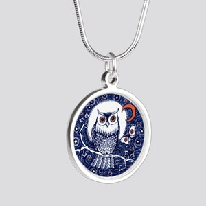 Blue Owl with Moon Silver Round Necklace