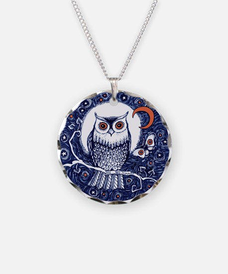 Blue Owl With Moon Necklace