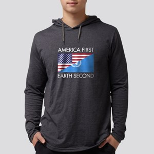 America First Earth Second Mens Hooded Shirt