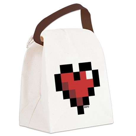 Pixel Heart Canvas Lunch Bag