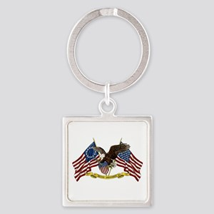 Second Amendment Liberty Eagle Square Keychain