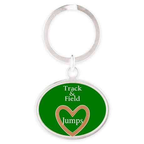 Track and Field Love Jumps Oval Keychain