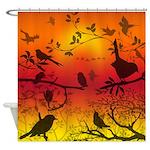 Bird Shadows Sunset Shower Curtain