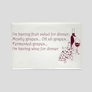Wine For Dinner Rectangle Magnet