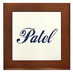 Patel name (blue) Framed Tile