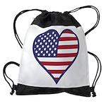 American Flag Heart Drawstring Bag