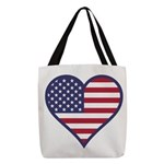 American Flag Heart Polyester Tote Bag
