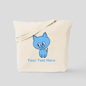 Blue Kitten. Custom Text. Tote Bag