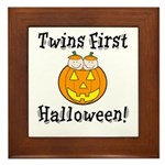 Twins First Halloween Framed Tile