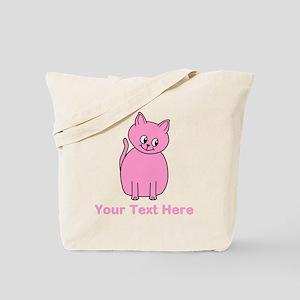 Pink Cat, Custom Text. Tote Bag