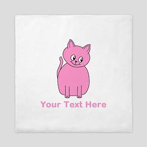 Pink Cat, Custom Text. Queen Duvet