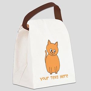 Orange Cat, Custom Text. Canvas Lunch Bag