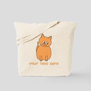 Orange Cat, Custom Text. Tote Bag