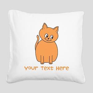 Orange Cat, Custom Text. Square Canvas Pillow