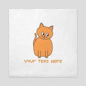 Orange Cat, Custom Text. Queen Duvet