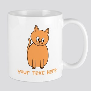 Orange Cat, Custom Text. Mug