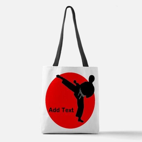 Karate Man Polyester Tote Bag