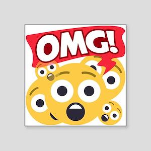 "Emoji Shocked OMG Square Sticker 3"" x 3"""