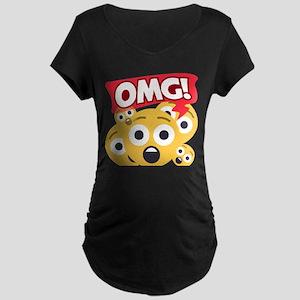 Emoji Shocked OMG Maternity Dark T-Shirt