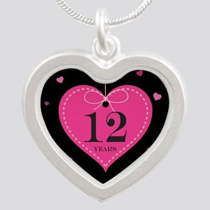 12th Anniversary Heart Silver Heart Necklace