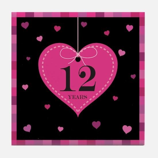12th Anniversary Heart Tile Coaster
