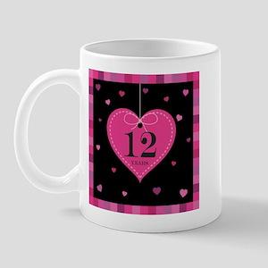 12th Anniversary Heart Mug