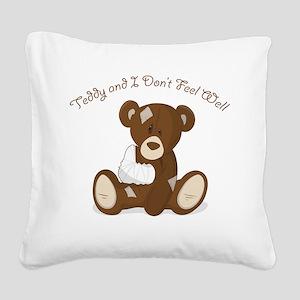 Cute Sick Teddy Infant Design Square Canvas Pillow