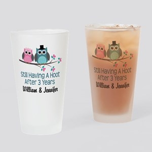 3rd Wedding Anniversary Owls Personalized Drinking