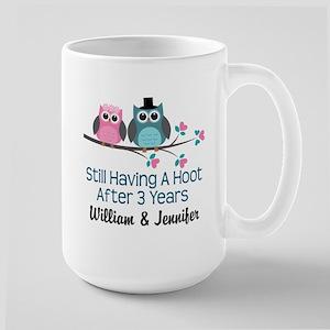 3rd Wedding Anniversary Owls Personalized Mugs