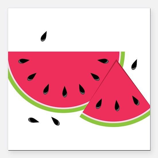 "Watermelon Slice Square Car Magnet 3"" x 3"""