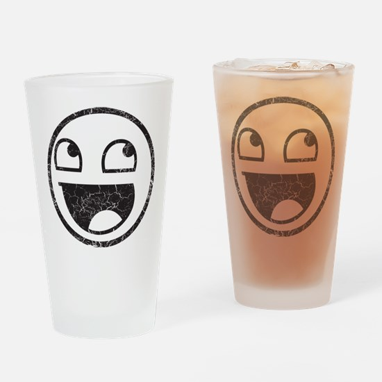 Epic Smiley Distressed Drinking Glass