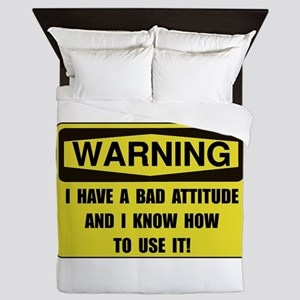 Attitude Warning Queen Duvet