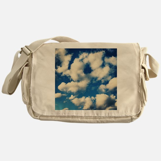 Fluffy Clouds Print Messenger Bag