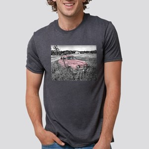 vintage pink car Mens Tri-blend T-Shirt