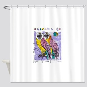 1990 Switzerland Owls Postage Stamp Shower Curtain