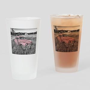 vintage pink car Drinking Glass