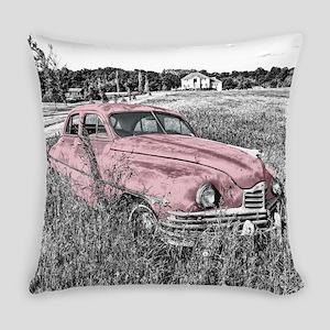 vintage pink car Everyday Pillow