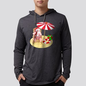 beach santa claus Mens Hooded Shirt