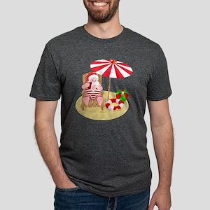 beach santa claus Mens Tri-blend T-Shirt
