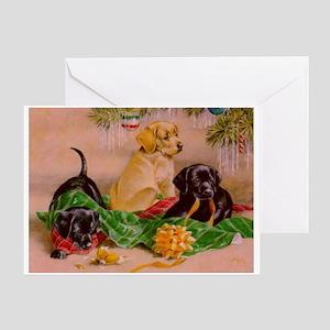 Christmas Puppies Greeting Card