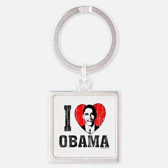 I Love Obama Square Keychain