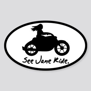 See Jane Ride Oval Sticker