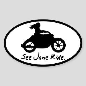 See Jane Ride Oval Sticker