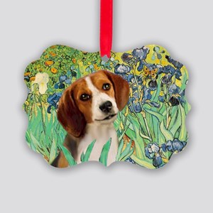 TILE-Irises-Beagle1 Picture Ornament
