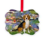 5.5x7.5-Lilies2-Beagle7 Picture Ornament